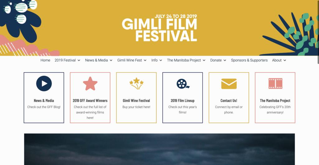 Screenshot of Gimli Film Festival